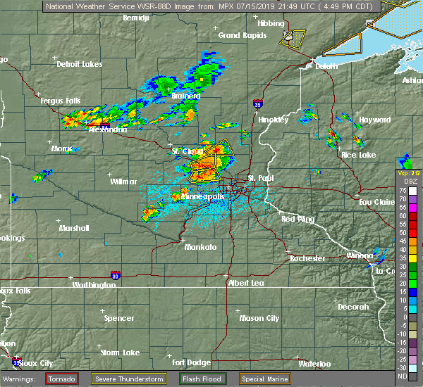 Radar Image for Severe Thunderstorms near Rogers, MN at 7/15/2019 4:55 PM CDT
