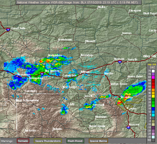 Radar Image for Severe Thunderstorms near Clearmont, WY at 7/15/2019 5:21 PM MDT