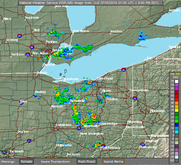 Radar Image for Severe Thunderstorms near West Lafayette, OH at 7/15/2019 9:05 PM EDT