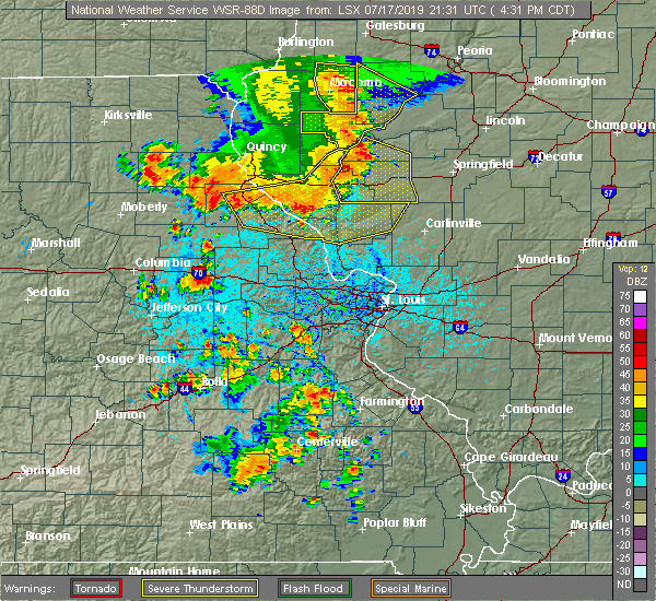 Radar Image for Severe Thunderstorms near Clarksville, MO at 7/17/2019 4:35 PM CDT