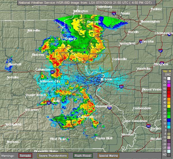Radar Image for Severe Thunderstorms near St. Peters, MO at 7/17/2019 4:54 PM CDT