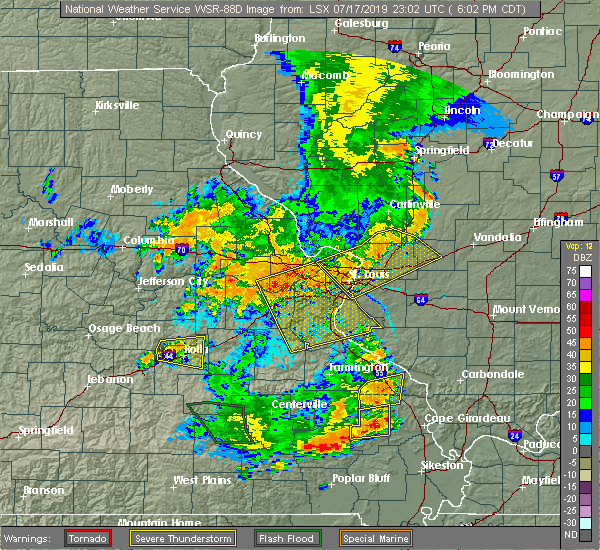 Radar Image for Severe Thunderstorms near Pagedale, MO at 7/17/2019 6:06 PM CDT