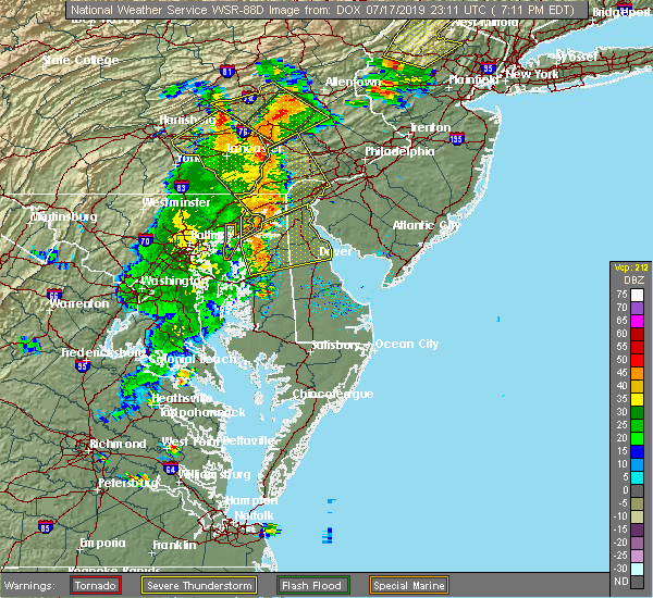 Radar Image for Severe Thunderstorms near Kingstown, MD at 7/17/2019 7:13 PM EDT