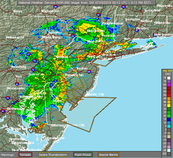 Radar Image for Severe Thunderstorms near Roebling, NJ at 7/17/2019 8:18 PM EDT