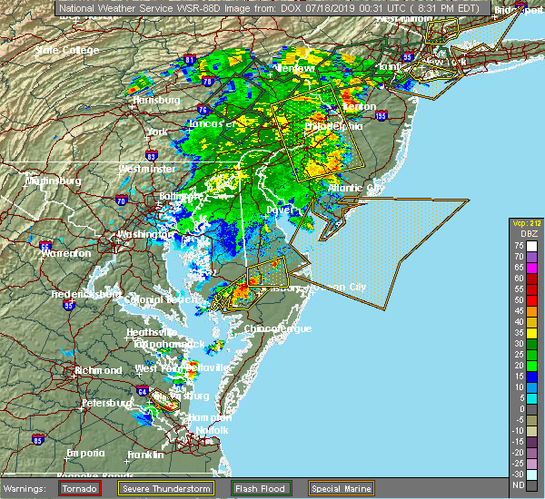 Radar Image for Severe Thunderstorms near Laurel, DE at 7/17/2019 8:33 PM EDT