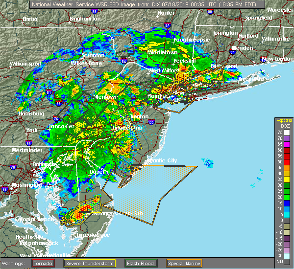 Radar Image for Severe Thunderstorms near Roebling, NJ at 7/17/2019 8:38 PM EDT