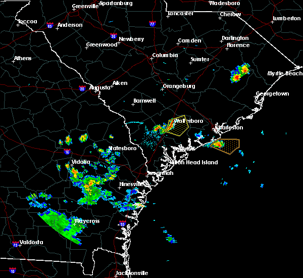 Radar Image for Severe Thunderstorms near Walterboro, SC at 7/17/2019 8:38 PM EDT
