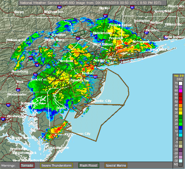 Radar Image for Severe Thunderstorms near Heathcote, NJ at 7/17/2019 8:53 PM EDT
