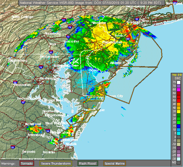 Radar Image for Severe Thunderstorms near Pittsville, MD at 7/17/2019 9:25 PM EDT