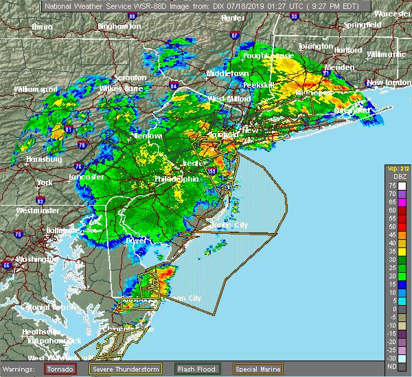 Radar Image for Severe Thunderstorms near Monmouth Junction, NJ at 7/17/2019 9:29 PM EDT