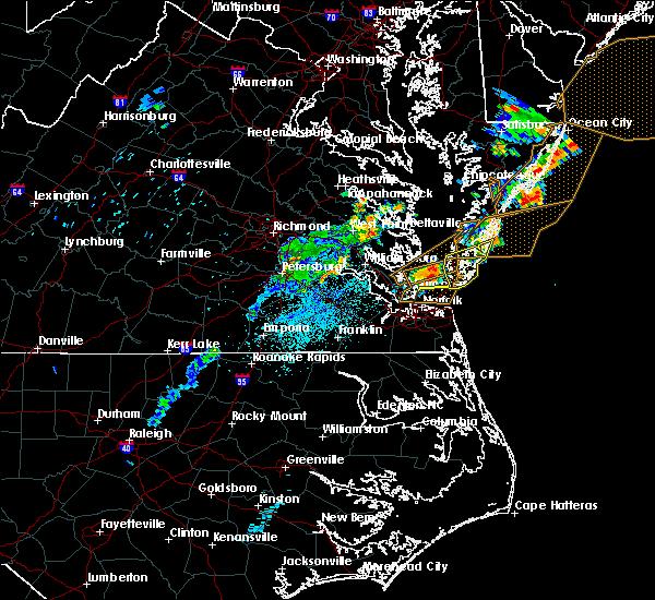 Radar Image for Severe Thunderstorms near Hampton, VA at 7/17/2019 10:02 PM EDT