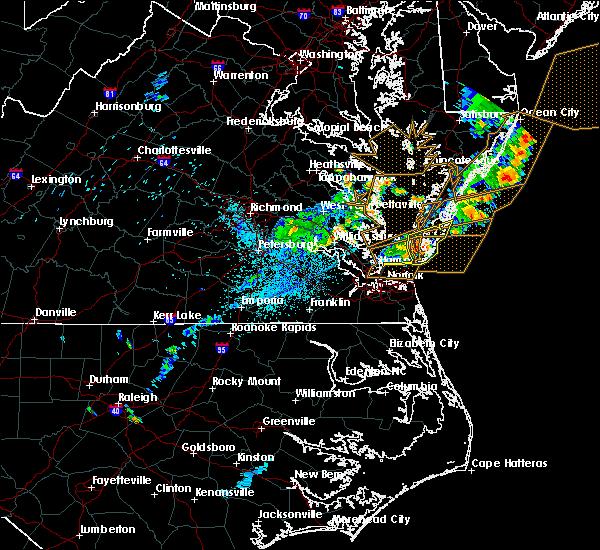 Radar Image for Severe Thunderstorms near Hampton, VA at 7/17/2019 10:23 PM EDT
