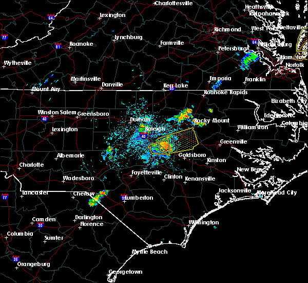 Radar Image for Severe Thunderstorms near Wilson, NC at 7/18/2019 12:14 AM EDT