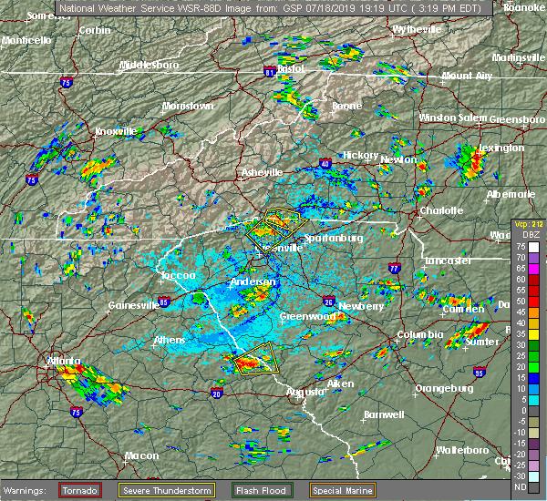 Radar Image for Severe Thunderstorms near Plum Branch, SC at 7/18/2019 3:25 PM EDT
