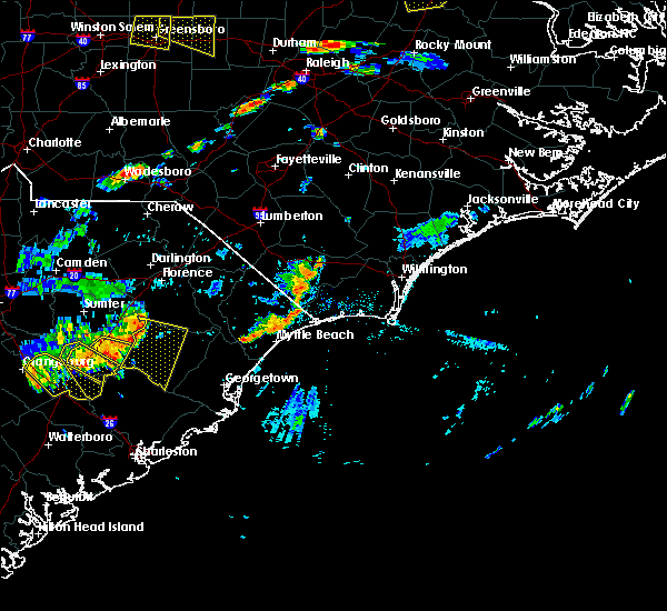 Radar Image for Severe Thunderstorms near Shallotte, NC at 7/18/2019 6:51 PM EDT