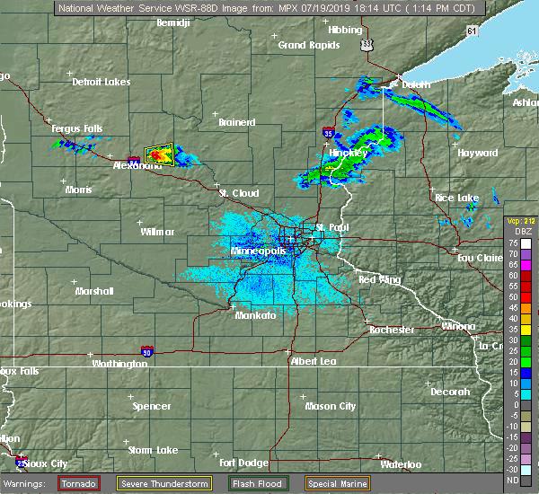 Radar Image for Severe Thunderstorms near Long Prairie, MN at 7/19/2019 1:19 PM CDT