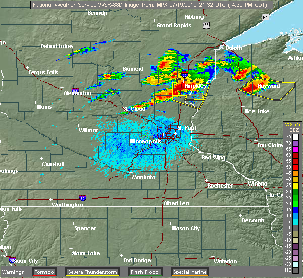 Radar Image for Severe Thunderstorms near North Branch, MN at 7/19/2019 4:36 PM CDT