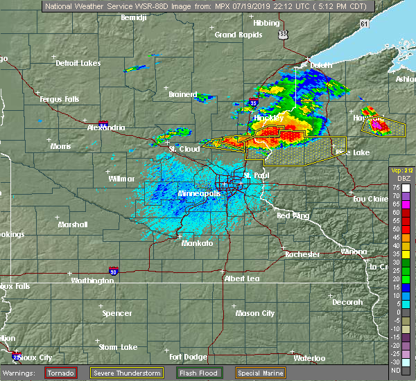 Radar Image for Severe Thunderstorms near Harris, MN at 7/19/2019 5:18 PM CDT