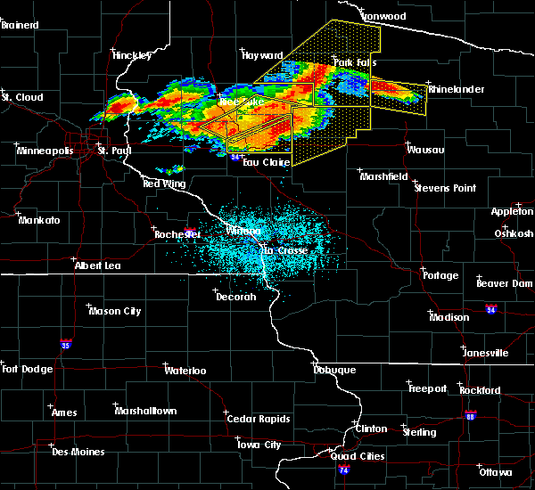 Radar Image for Severe Thunderstorms near Bloomer, WI at 7/19/2019 6:58 PM CDT