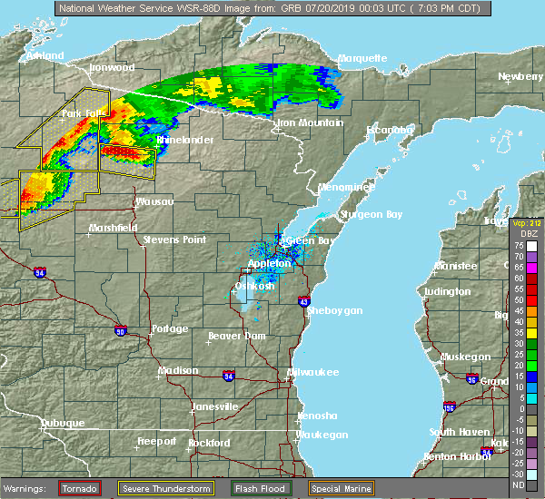 Radar Image for Severe Thunderstorms near Rhinelander, WI at 7/19/2019 7:06 PM CDT