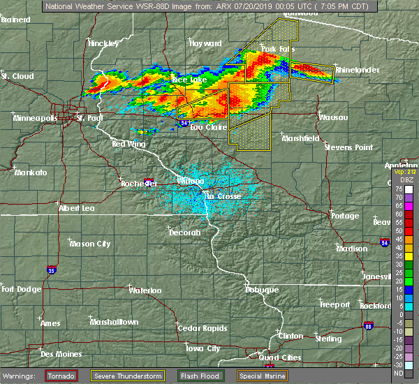 Radar Image for Severe Thunderstorms near Humbird, WI at 7/19/2019 7:10 PM CDT