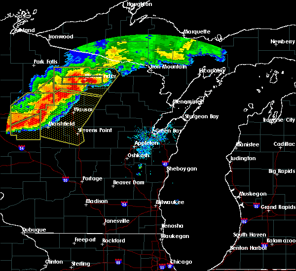 Radar Image for Severe Thunderstorms near Ogema, WI at 7/19/2019 7:55 PM CDT