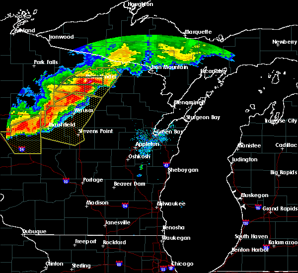 Radar Image for Severe Thunderstorms near Rhinelander, WI at 7/19/2019 8:08 PM CDT