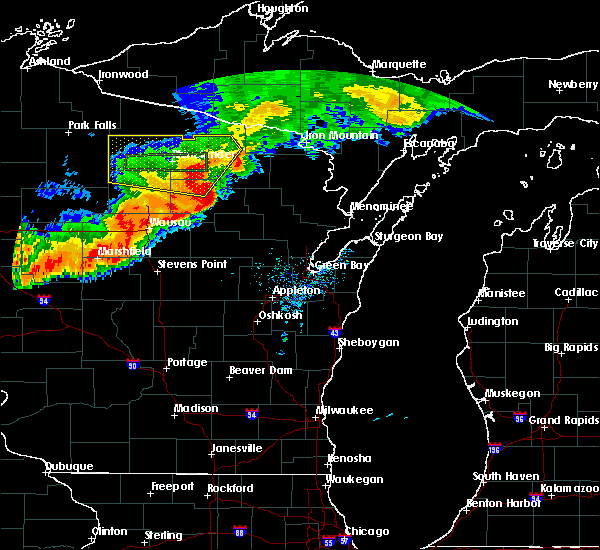 Radar Image for Severe Thunderstorms near Crandon, WI at 7/19/2019 8:22 PM CDT