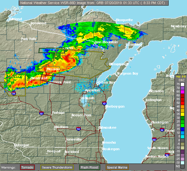 Radar Image for Severe Thunderstorms near Aniwa, WI at 7/19/2019 8:36 PM CDT