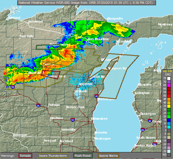 Radar Image for Severe Thunderstorms near Wisconsin Rapids, WI at 7/19/2019 8:46 PM CDT