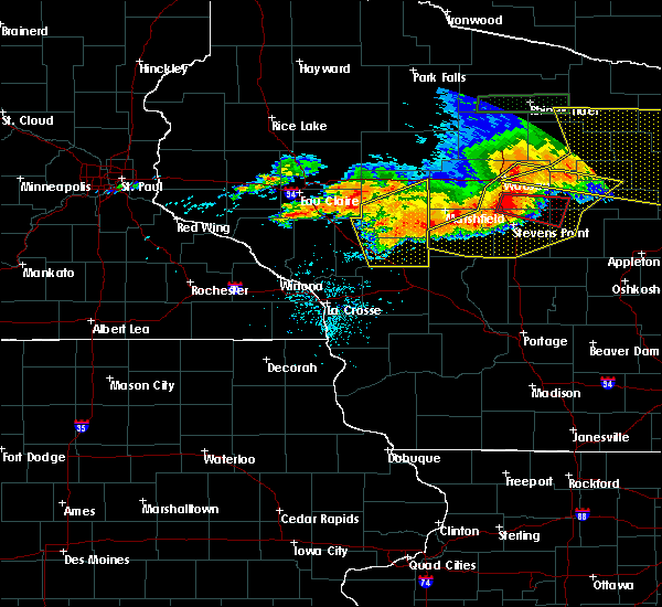 Radar Image for Severe Thunderstorms near Greenwood, WI at 7/19/2019 8:45 PM CDT