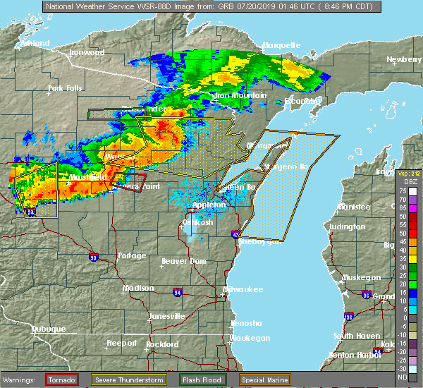Radar Image for Severe Thunderstorms near Crandon, WI at 7/19/2019 8:47 PM CDT