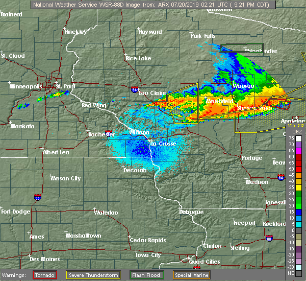 Radar Image for Severe Thunderstorms near Hatfield, WI at 7/19/2019 9:23 PM CDT