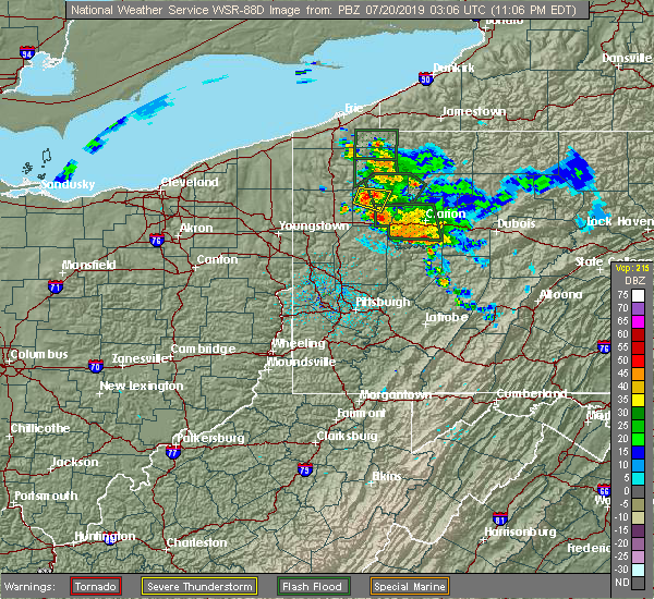 Radar Image for Severe Thunderstorms near Utica, PA at 7/19/2019 11:11 PM EDT