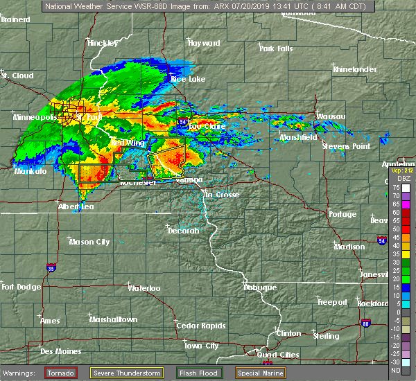 Radar Image for Severe Thunderstorms near Elgin, MN at 7/20/2019 8:46 AM CDT