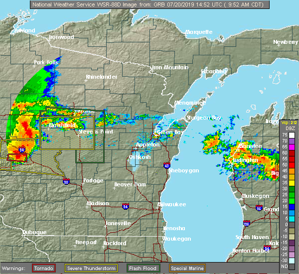 Radar Image for Severe Thunderstorms near Mosinee, WI at 7/20/2019 9:54 AM CDT