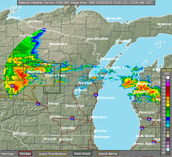 Radar Image for Severe Thunderstorms near Mosinee, WI at 7/20/2019 10:07 AM CDT