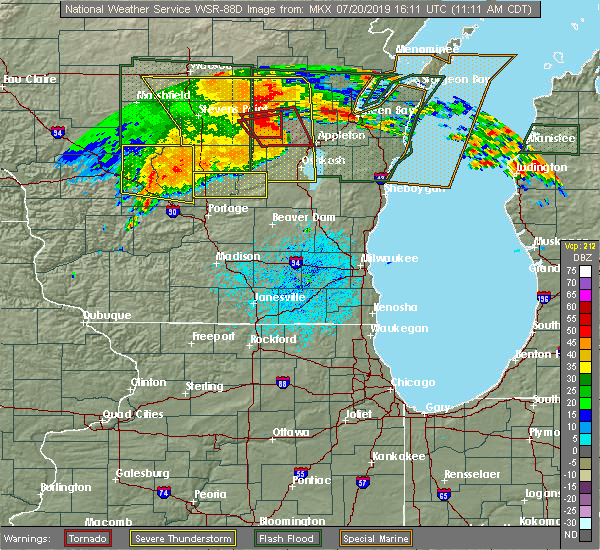 Radar Image for Severe Thunderstorms near Oxford, WI at 7/20/2019 11:14 AM CDT