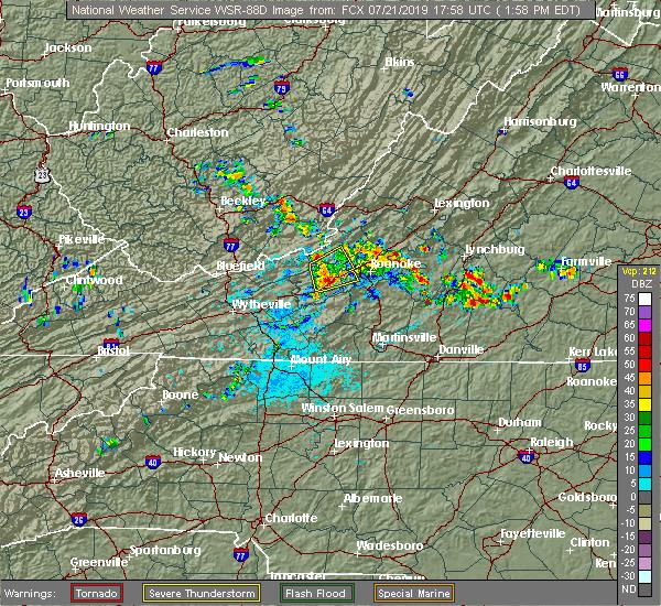 Radar Image for Severe Thunderstorms near Blacksburg, VA at 7/21/2019 2:03 PM EDT