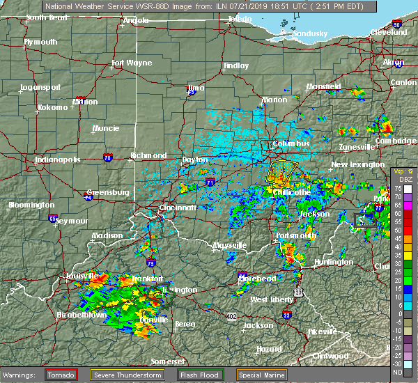 Radar Image for Severe Thunderstorms near Columbus, OH at 7/21/2019 2:53 PM EDT
