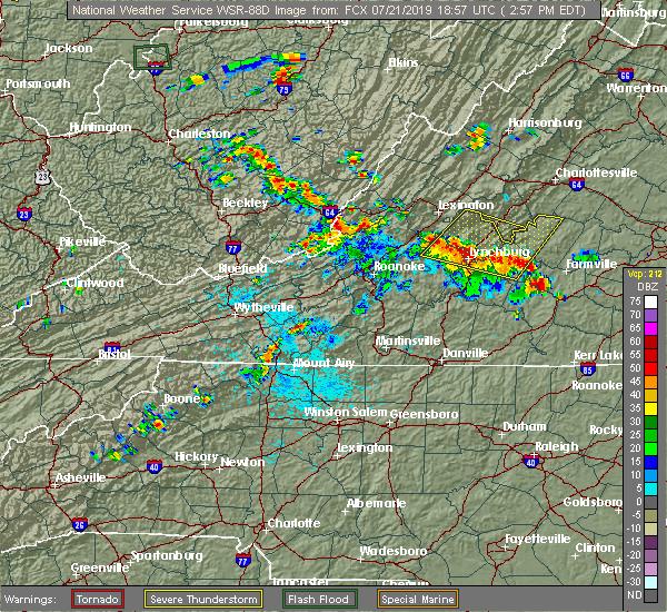 Radar Image for Severe Thunderstorms near Yogaville, VA at 7/21/2019 3:02 PM EDT