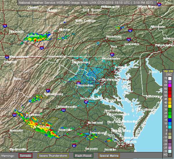 Radar Image for Severe Thunderstorms near Harrisonburg, VA at 7/21/2019 3:22 PM EDT