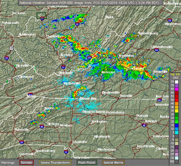Radar Image for Severe Thunderstorms near Yogaville, VA at 7/21/2019 3:28 PM EDT