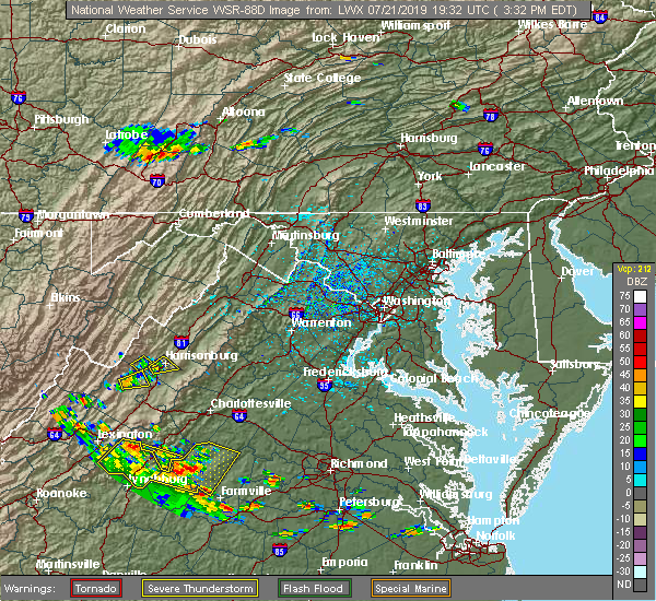 Radar Image for Severe Thunderstorms near Harrisonburg, VA at 7/21/2019 3:34 PM EDT