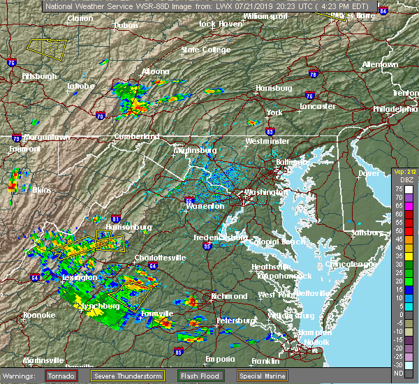 Radar Image for Severe Thunderstorms near Mount Sidney, VA at 7/21/2019 4:25 PM EDT