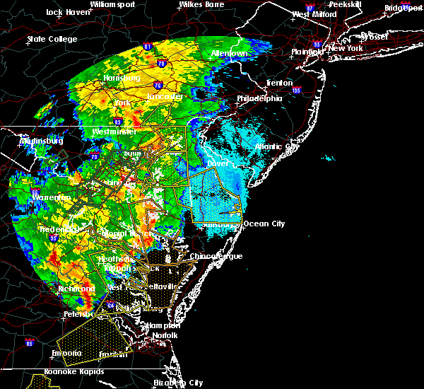 Radar Image for Severe Thunderstorms near Milford, DE at 6/20/2015 10:36 PM EDT