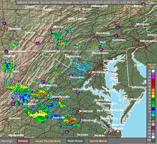 Radar Image for Severe Thunderstorms near Front Royal, VA at 7/21/2019 4:58 PM EDT
