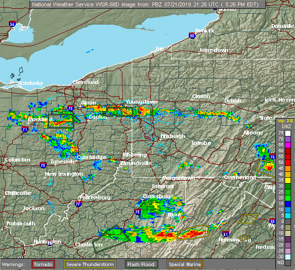 Radar Image for Severe Thunderstorms near Girard, OH at 7/21/2019 5:30 PM EDT
