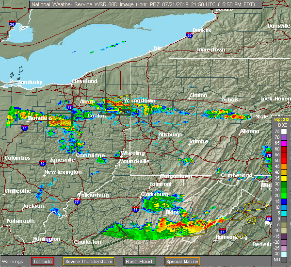 Radar Image for Severe Thunderstorms near Girard, OH at 7/21/2019 5:54 PM EDT