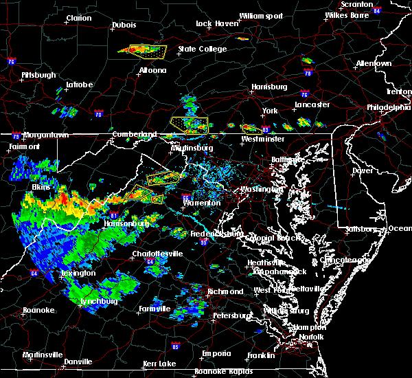 Radar Image for Severe Thunderstorms near Chester Gap, VA at 7/21/2019 6:05 PM EDT
